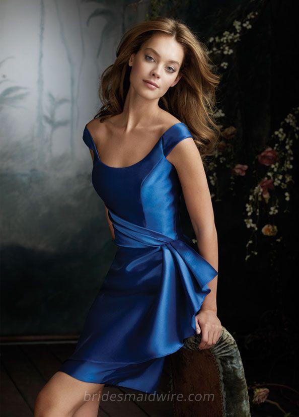Off the Shoulder Sleeves Royal Satin Knee Length Bridesmaid Dress ... 80137ef39