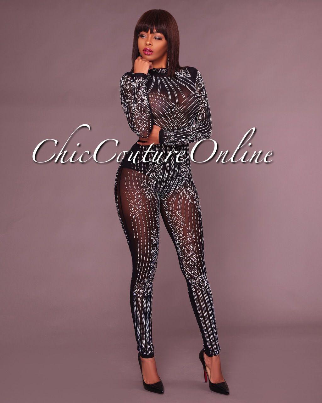1f1bd9feb64 Chic Couture Online - Yessy Black Rhinestones Semi-Sheer Jumpsuit