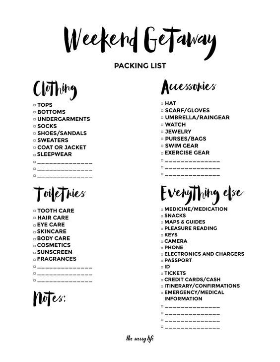 Weekend Getaway Packing List Free Printable