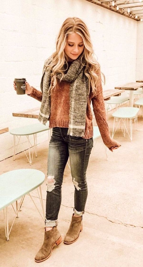 #winter #outfits heather-gray scarf and brown sweater