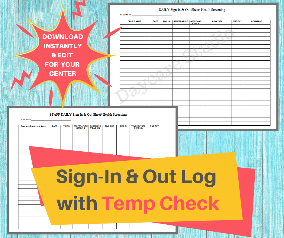 Sign In/Out Log with Temp Check / Daycare Printable Health