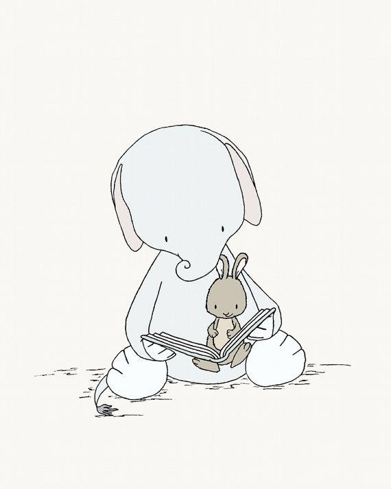Olifant en Bunny kwekerij Art–olifant en Bunny Story time–kwekerij Art Print–kwekerij decor–kinderen kunst–Kids Wall Art