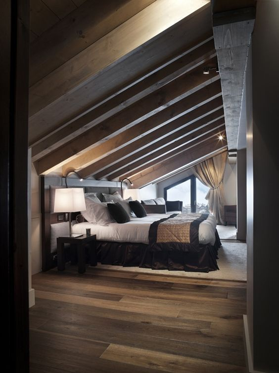 Best Masculine Attic Master Bedroom With Dark Wood Beamed Sloped Ceiling Dark Wood Floors And Large 400 x 300