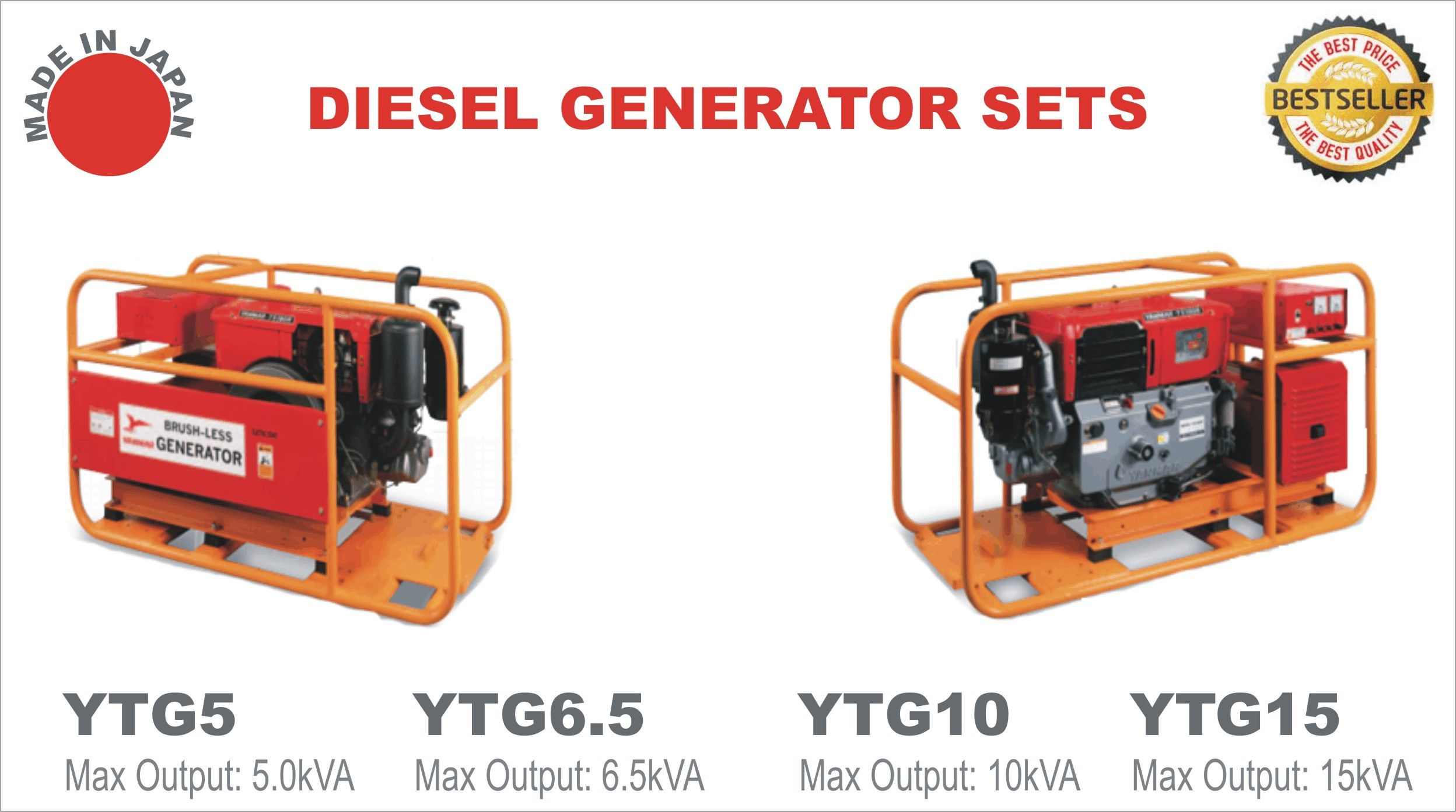 Yanmar brand YTG series Made in Japan Diesel Generators