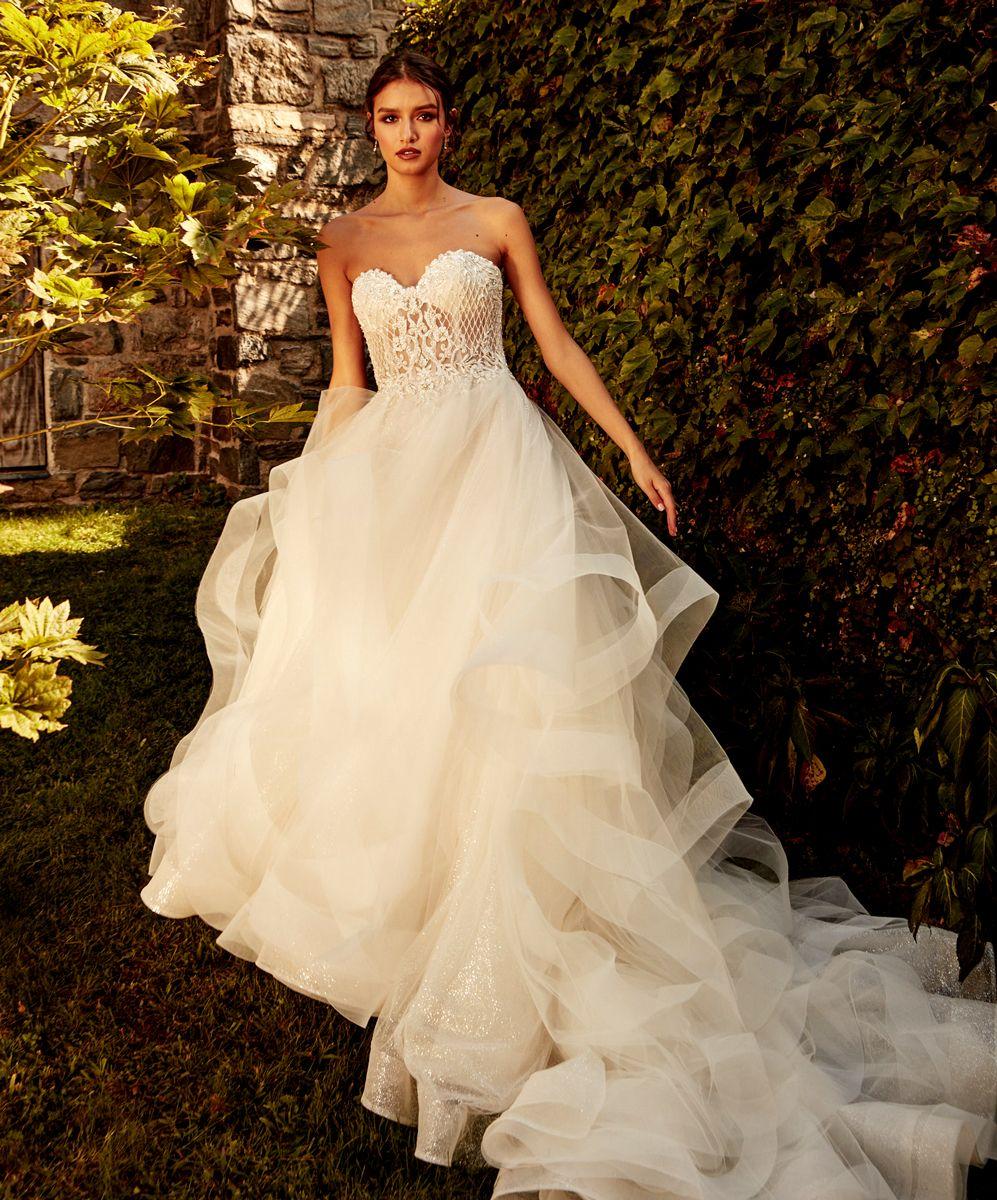 Strapless Sweetheart Neckline Layered Tulle Aline Wedding