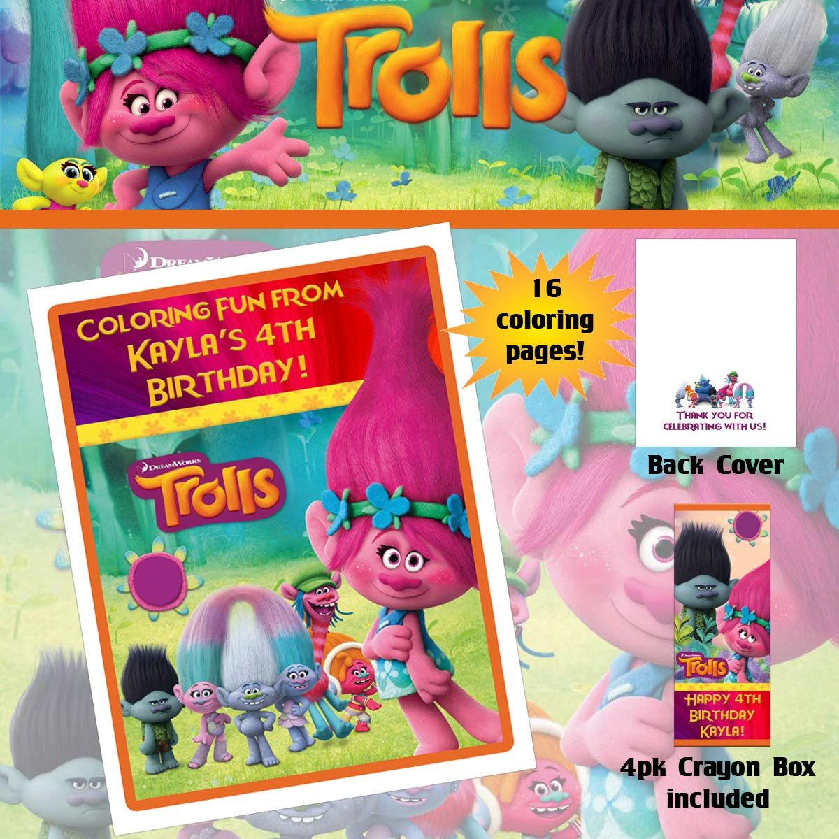 Trolls Poppy Coloring Book with Crayons by TotheTCreations ...