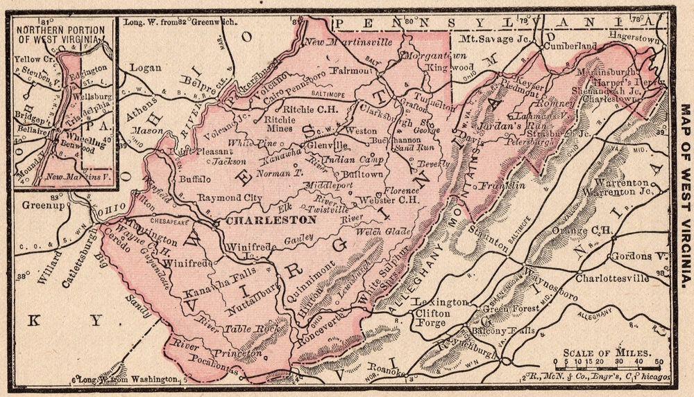 1888 Antique WEST VIRGINIA Map RARE MINIATURE Map of West ...