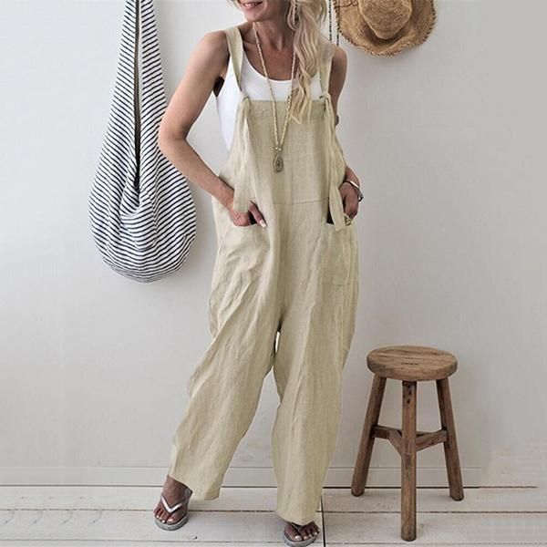 Daily Casual Solid Color Pocket Jumpsuits   Beige / 3XL Gallery