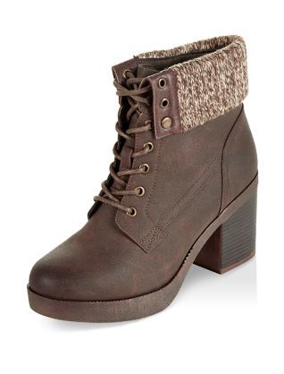 e92f51566de39 Dark Brown Knitted Cuff Lace Up Block Heel Ankle Boots