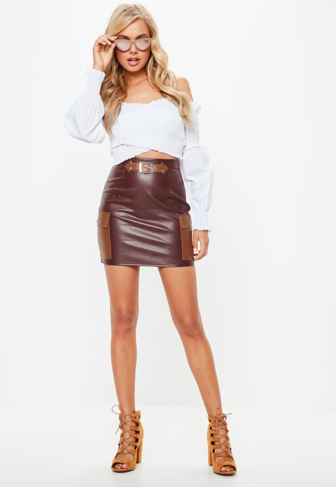 f050662ac Missguided - Brown Faux Leather Mini Skirt