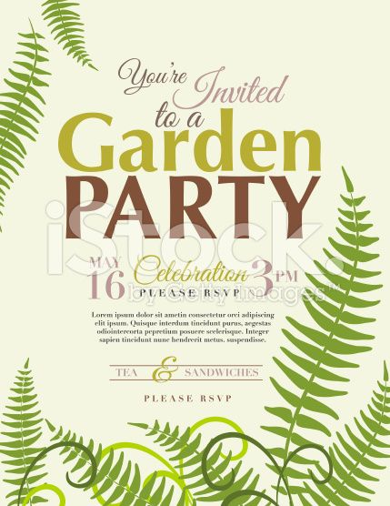 ferns garden party vertical invitation template on pastel green