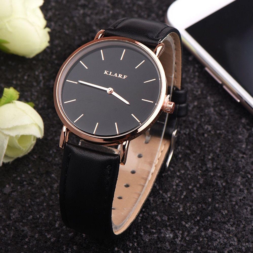 Fashion Women Watches Black Ladies Watches Top Brand Luxury Bayan Kol Saati Simple Dress Quartz Clock Montre Womens Watches Watches Women Leather Black Watch