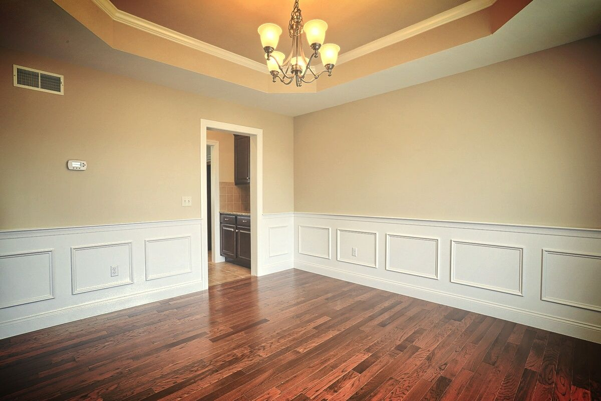 Painting Tray Ceiling: Formal Dining Room With Elegant Trim Detail, Painted Tray