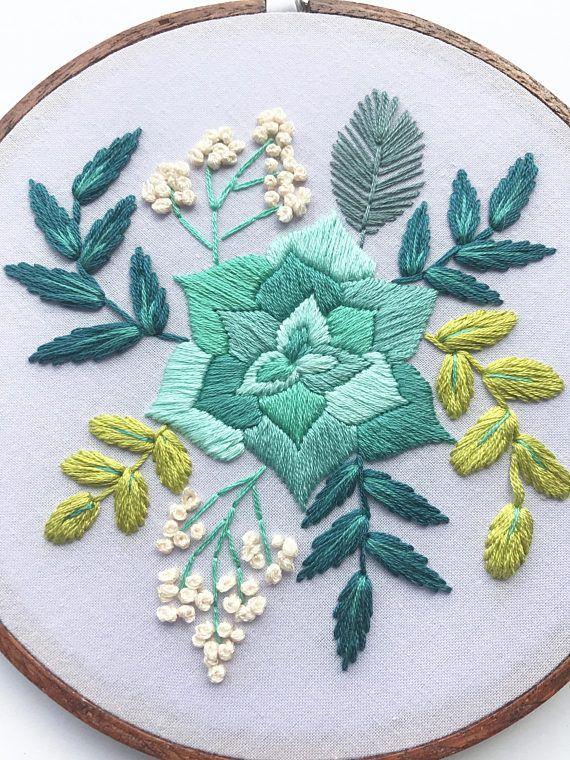 Flores en puntada margarita doble color|bordado a mano | bordado a.