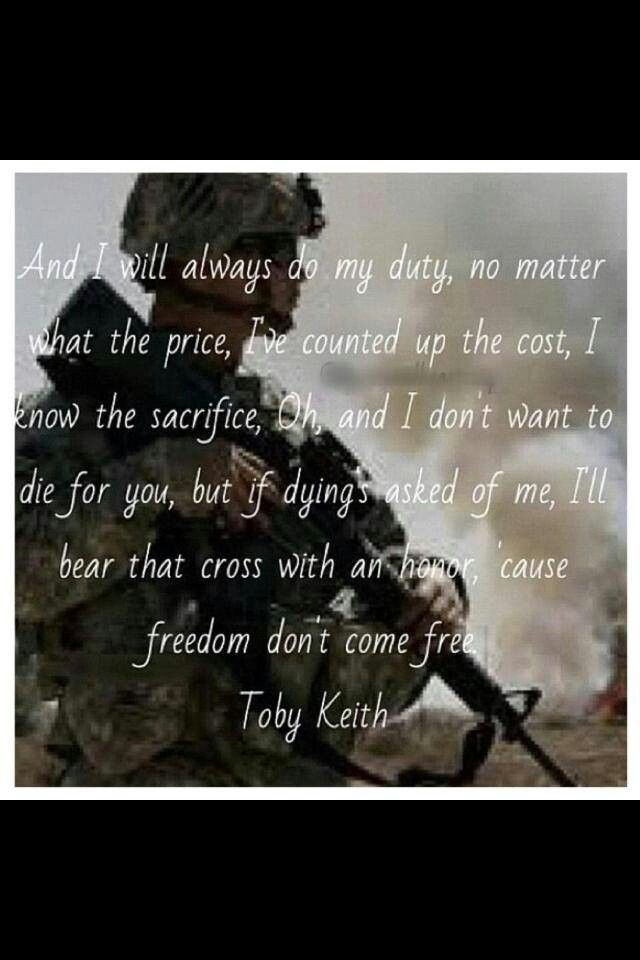 Lyric freedom lyrics gospel : American solider toby keith | Song Lyrics | Pinterest | Country ...