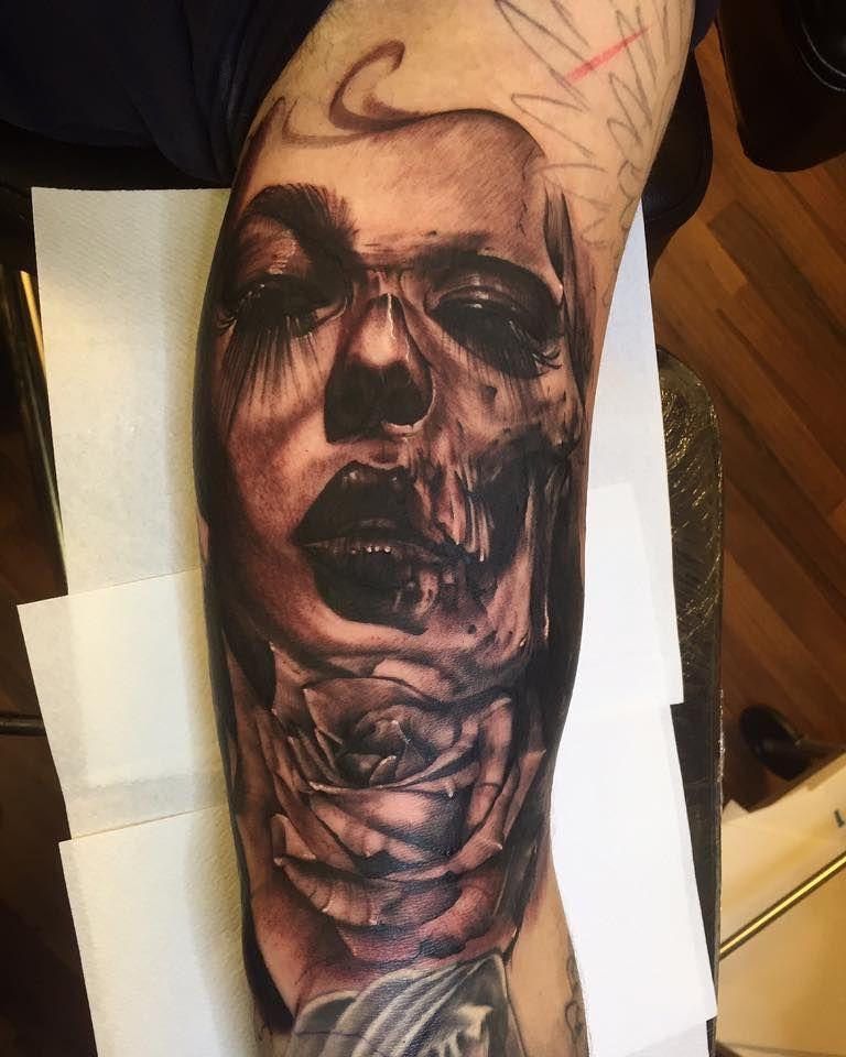 Half Skull Half Girl Tattoo Ig Jozy43 Tattoos Tattoos Girl
