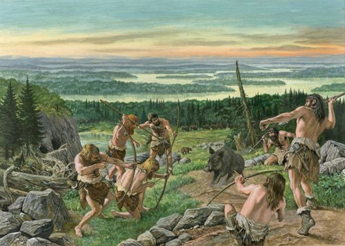 A very generic scene of prehistoric hunters by Roger Payne ...