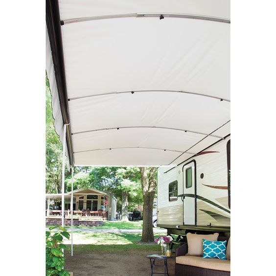Awnbrella Give Your Awning Extra Support And Better Angle For Water Run Off Cheap Canopy Awning Accessories Mobile Home Decorating