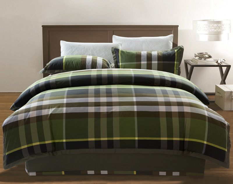 Accessories Army Green Chekered 4 Piece Bedding Set Bedding 98 99 Plaid Bedding Luxury Bedding Tartan Bedding
