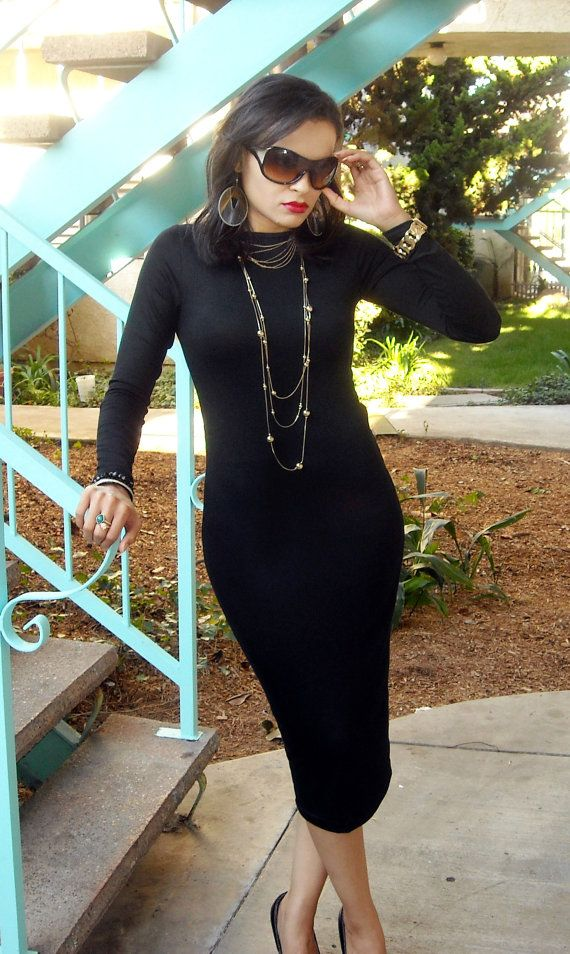86348aa7b7 ON SALE Black Midi Pencil Dress Long Sleeve by lanationclothing, $33.00
