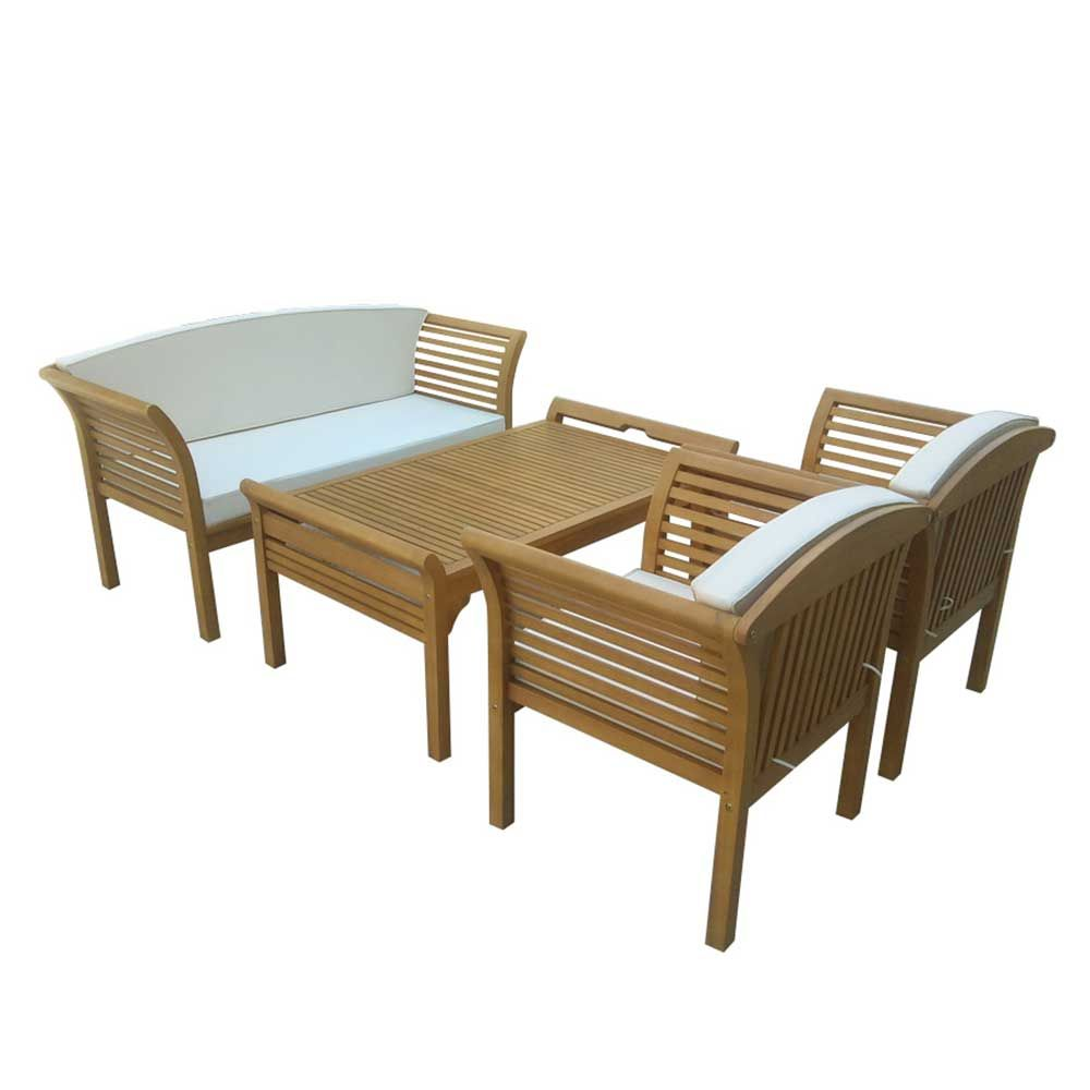 Loungemöbel Sitzgruppe Loungeset Aus Eukalyptus Massivholz Geölt (4 Teilig)  Jetzt Bestellen Unter: