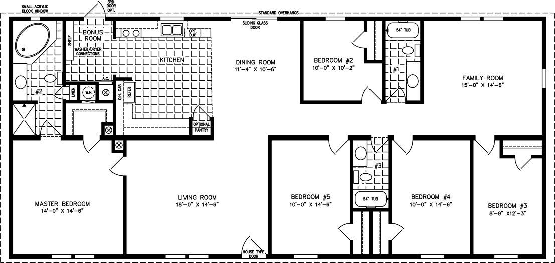 The tnr 4686w manufactured home floor plan jacobsen for Three bedroom house plans with bonus room