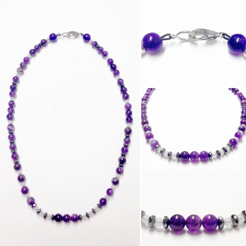 Beaded Amethyst Necklace - Gemstone Necklace - Snow Quartz Necklace - Hematite Necklace - Amethyst Necklace - Amethyst Jewelry - Gemstones by OurUniverseShop on Etsy