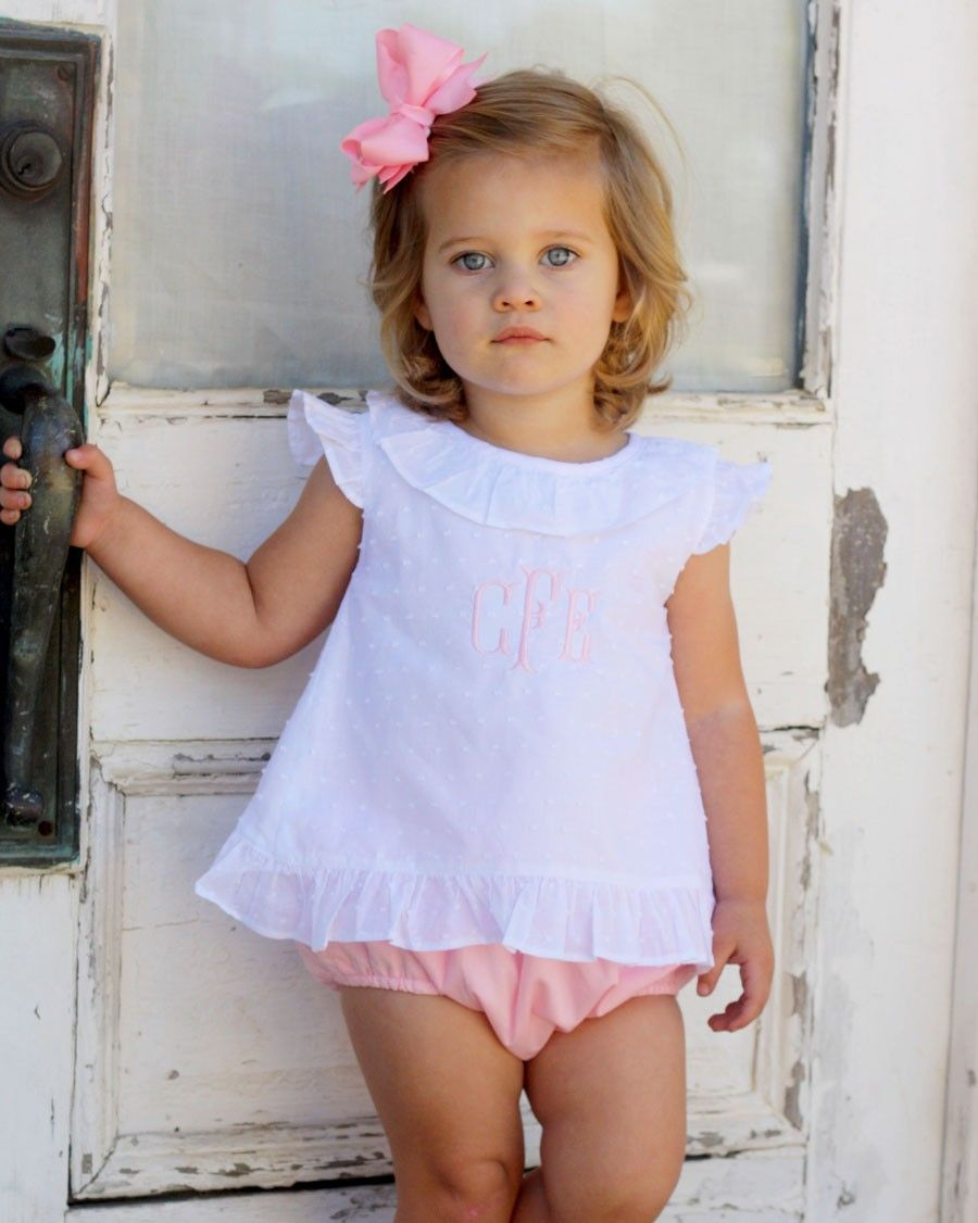 9503f34f White Swiss Dot and Pink Bloomer Set Cute Little Baby Girl, Little Girl  Outfits,
