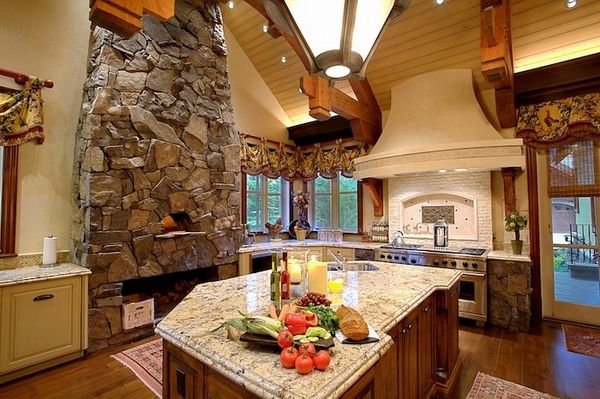 stone fireplace design ideas modern kitchen rustic decor wood flooring ceiling beams