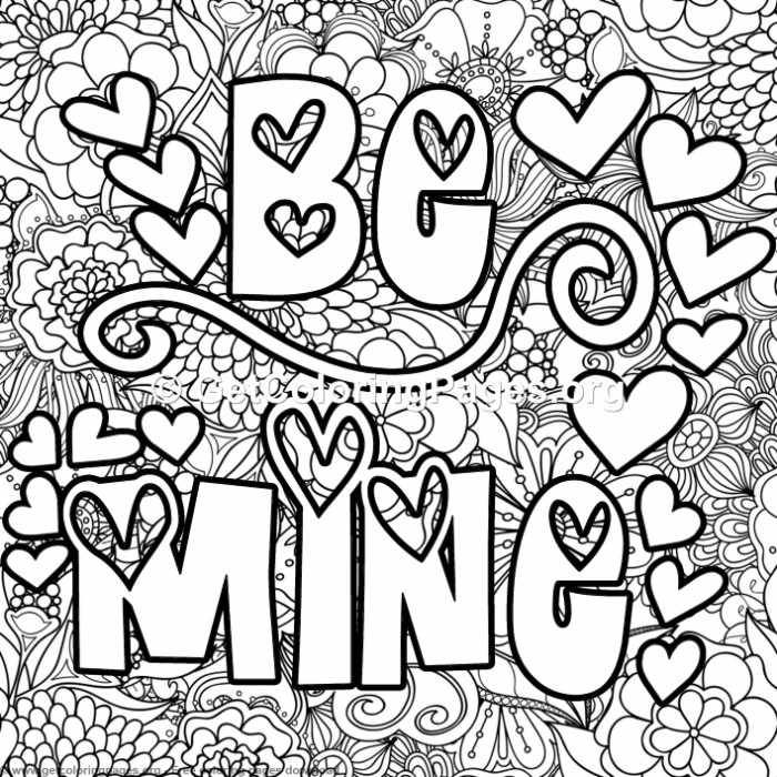 Valentines Lettering Be Mine Coloring Pages Coloring Pages