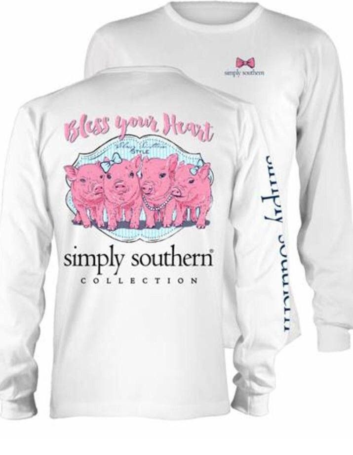 0a916c71 Simply Southern Preppy White Bless Your Heart Pink Pig Long Sleeve Cotton  Tee Shirt
