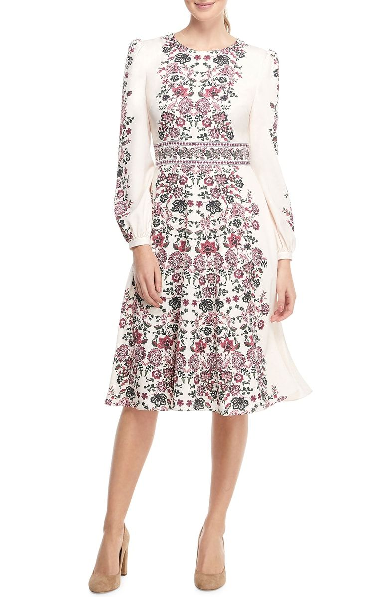 Free shipping and returns on Gal Meets Glam Collection Chloe Floral Border Print A-Line Dress (Regular & Petite) (Nordstrom Exclusive) at Nordstrom.com. <p>Celebrate the often-overlooked design feature of empty space with this lovely A-line dress featuring a placed floral print with delicate borders.</p>