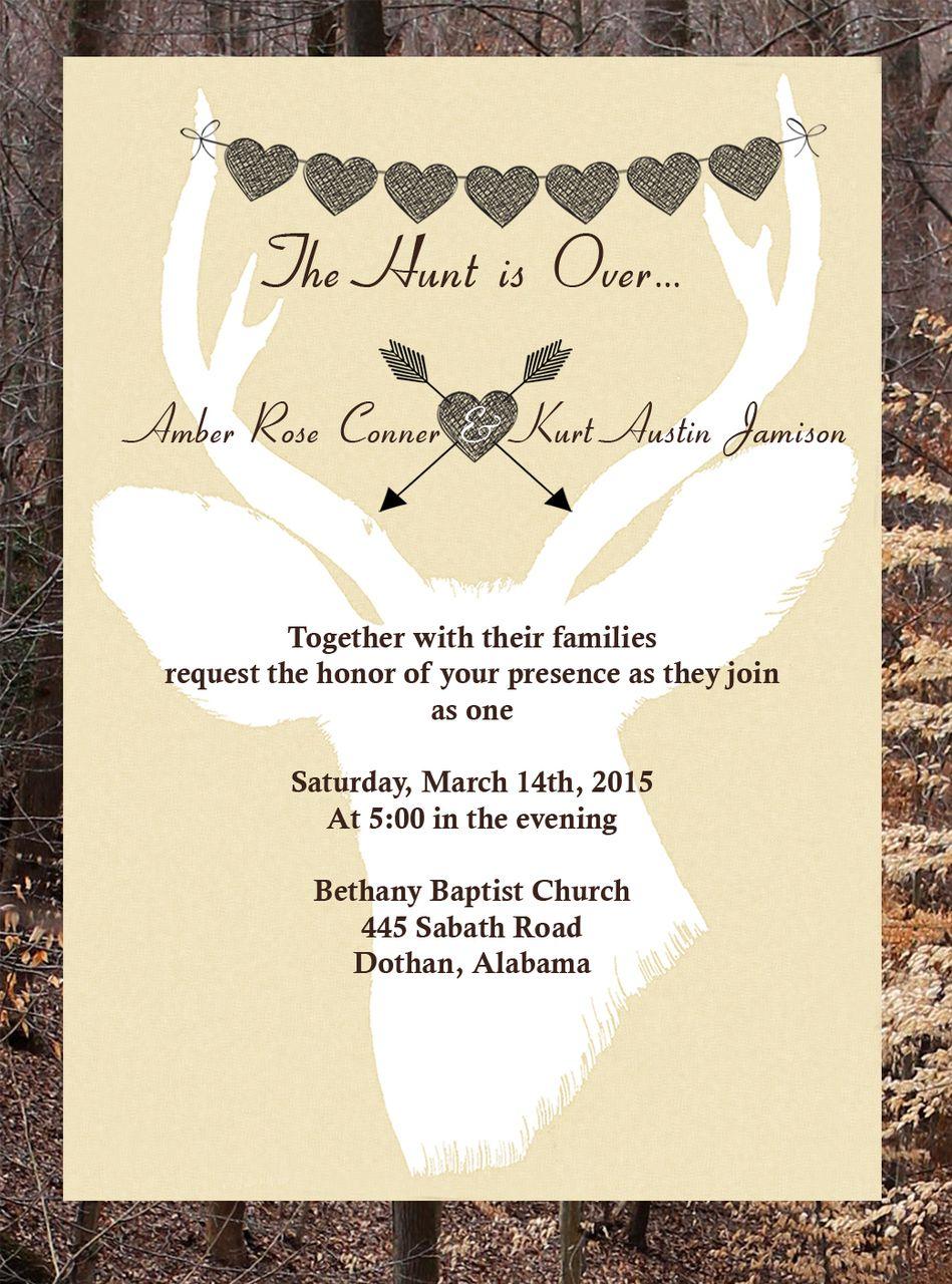 Superb The Hunt Is Over Wedding Invitations (12 MINIMUM)