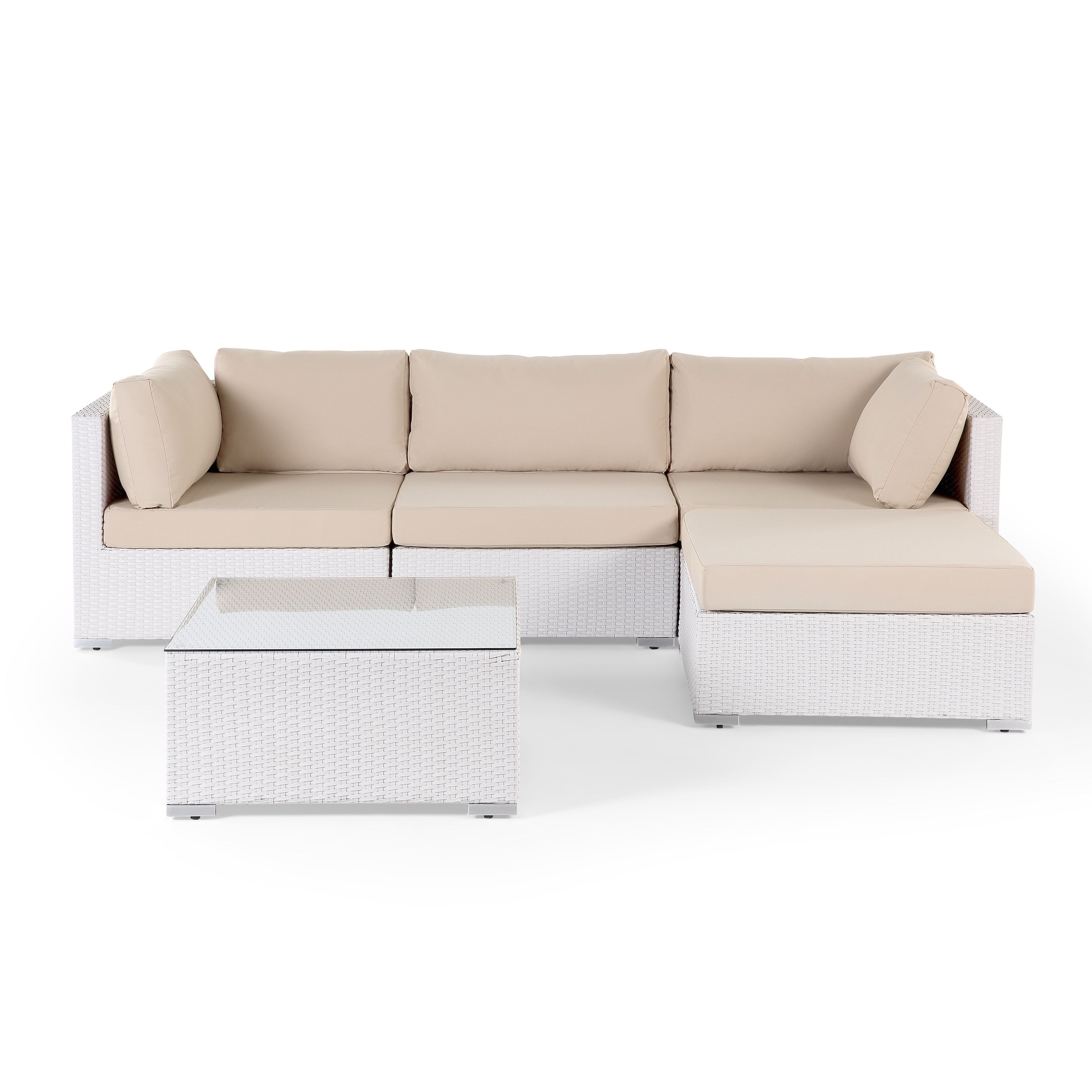 Sano Modern White Wicker Outdoor Sectional Sofa Set by Velago