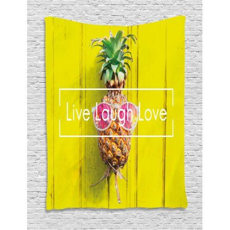 Live Laugh Love Decor Tapestry, Tropical Pineapple with Sunglasses ...