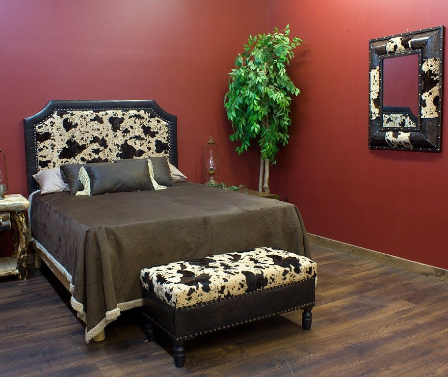 Caldwell Faux Cowhide Headboard With Matching Mirror And Trunk A Great Western Look