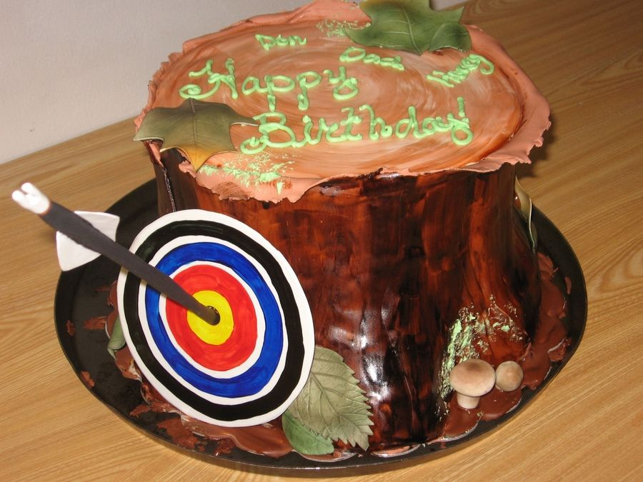Cake Carrier Target Custom Stump Cake With Archery Target Mushrooms Leaves Party Ideas