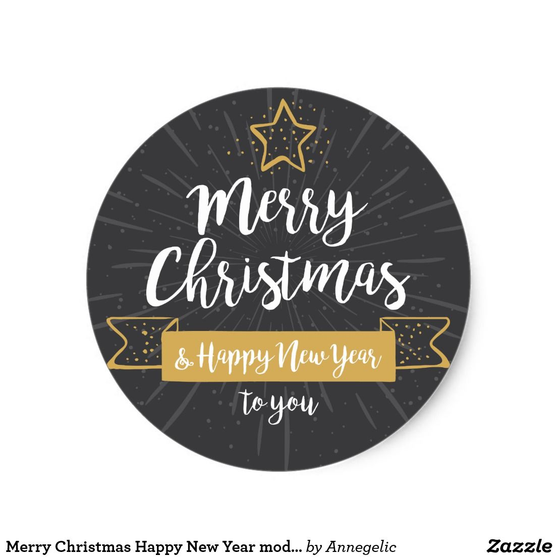 Merry Christmas Happy New Year Modern Handwritten Classic Round Sticker Zazzle Com In 2021 Merry Christmas And Happy New Year Christmas Cards Free Xmas Tags
