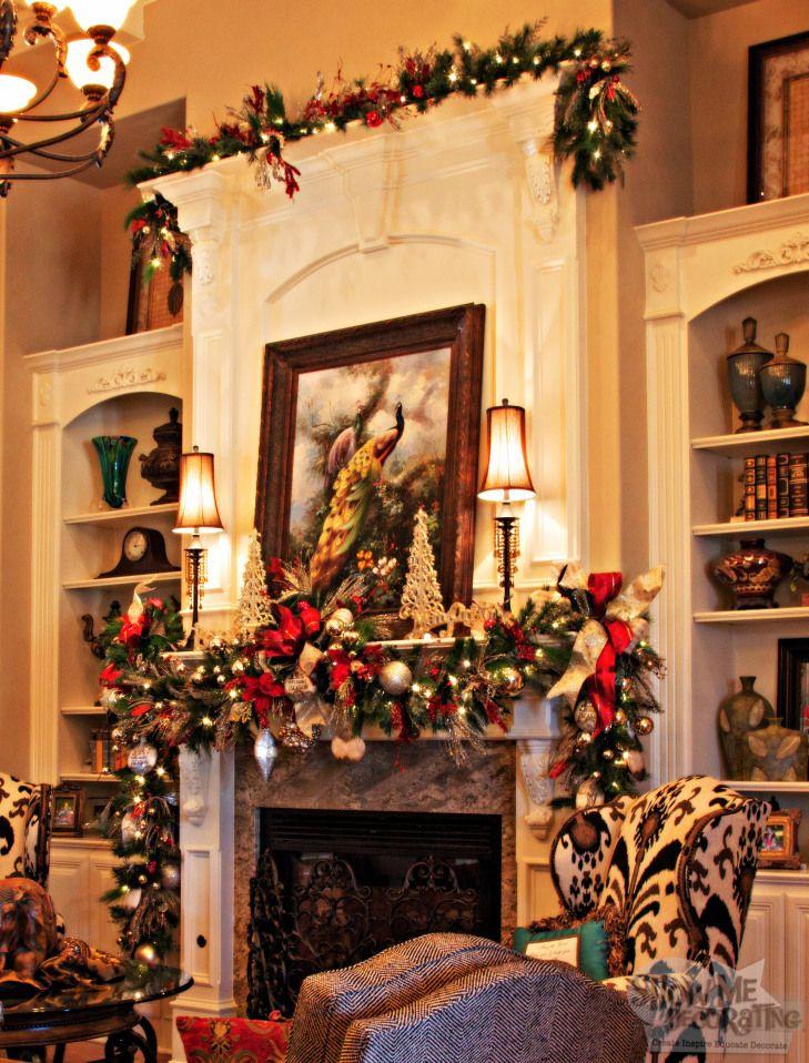 mantle garland, living room christmas decor,