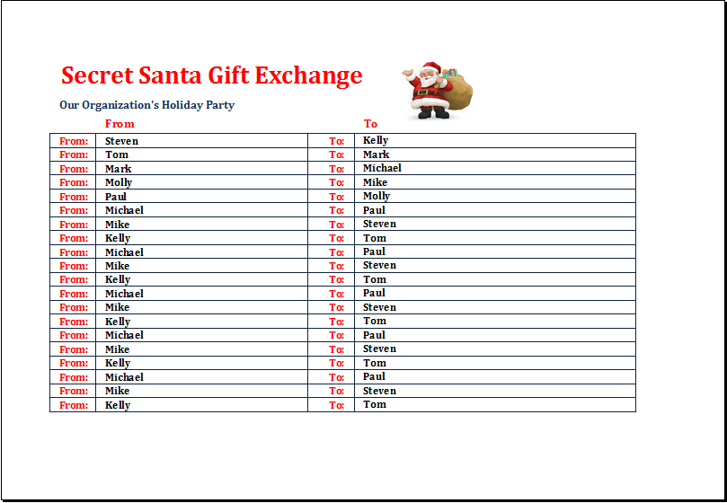 Santa Gift Exchange List Templates 7 Free Printable Xlsx