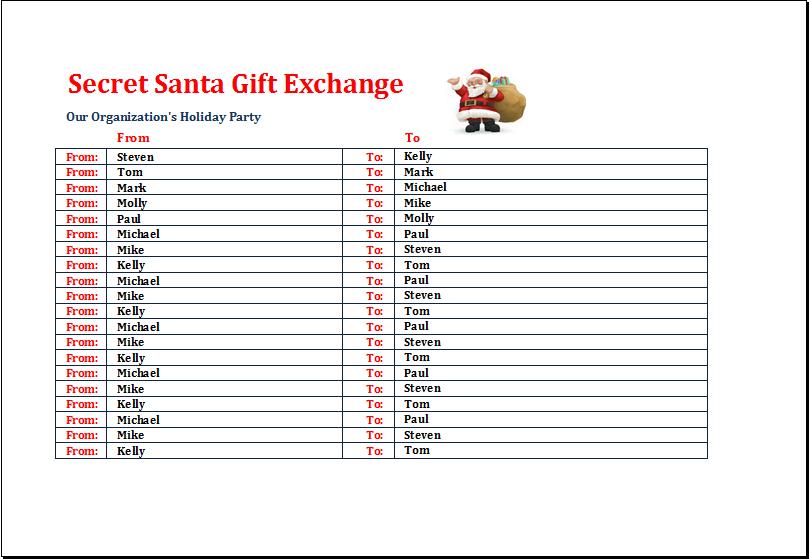 Secret Santa Gift Exchange List Template