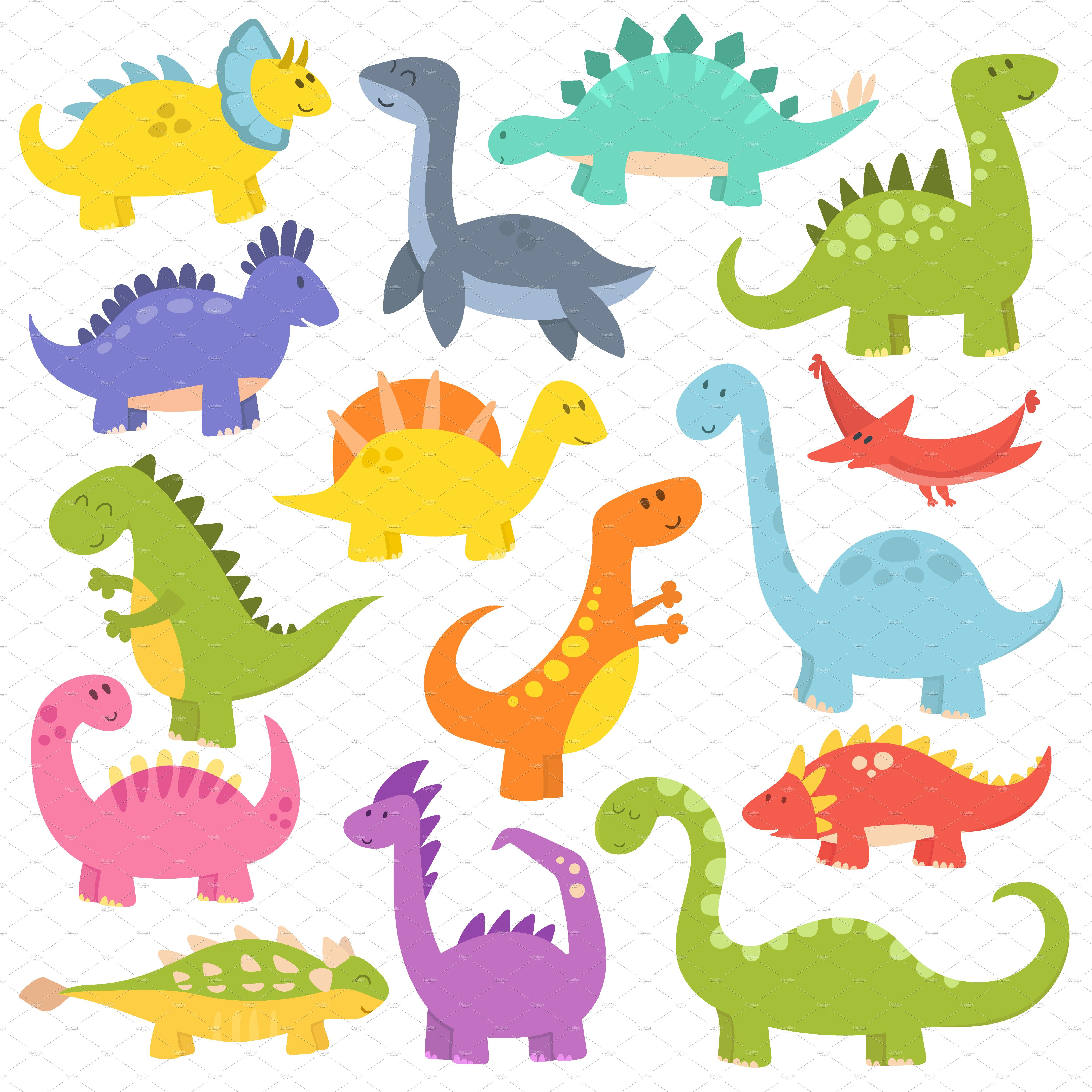 Cute Cartoon Dinosaurs Vector Dinosaur Illustration Cute Dinosaur Cartoon Dinosaur