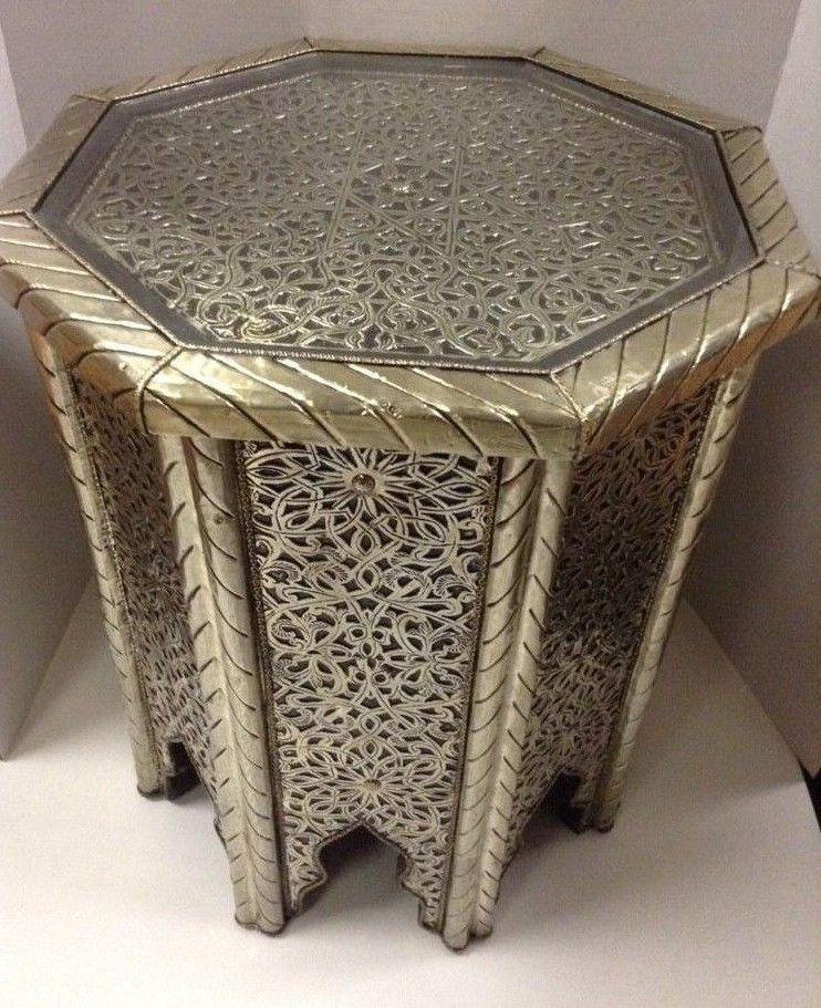 ebfc83396b817 Moroccan Octagonal Table Engraved Metal Wood Arabic Design Furniture Glass  Top #Handmade #Moroccan
