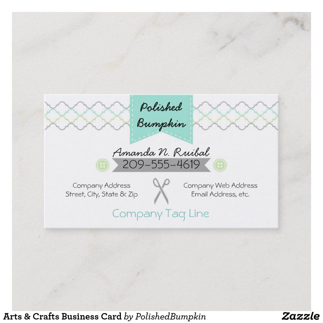 Arts crafts business card with images