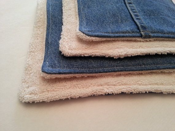 Terry Cloth Pot Holders / Hot Pads / Upcycled Denim