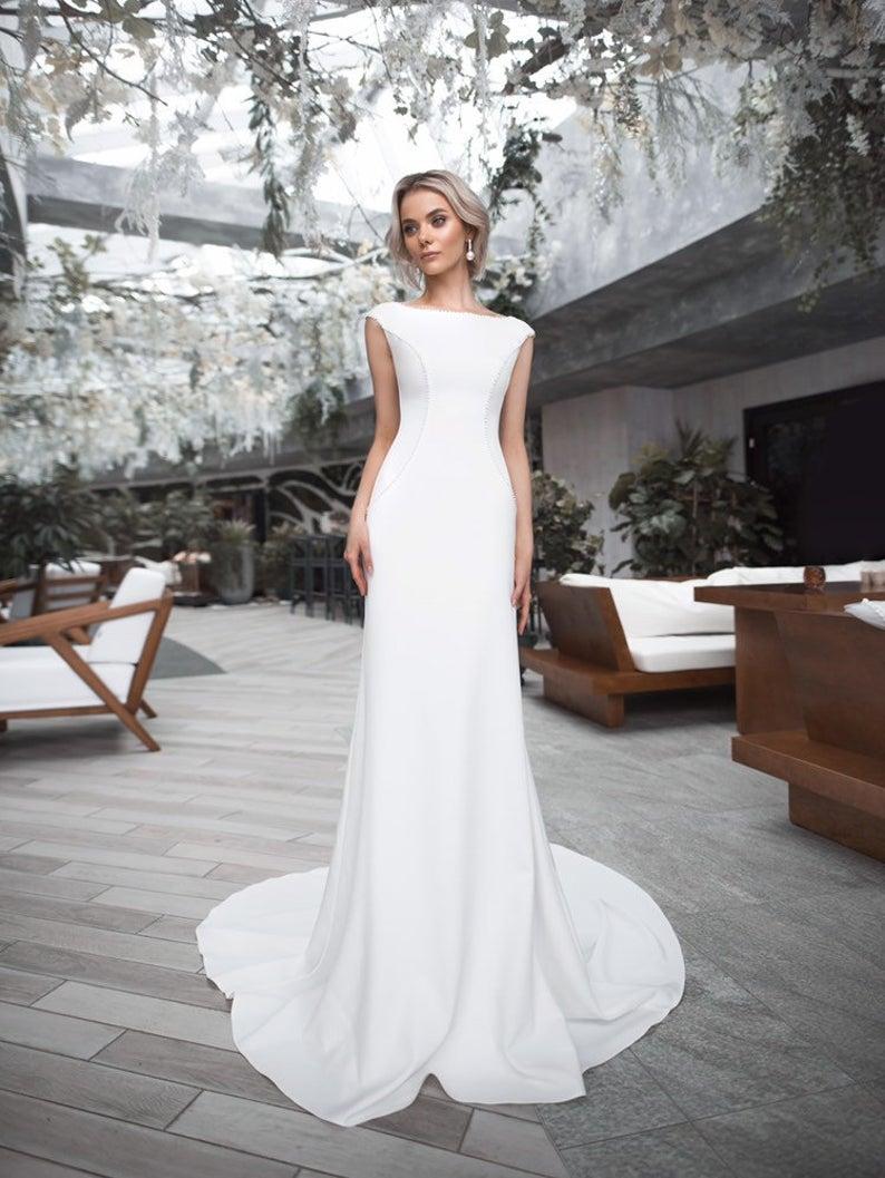 Boho Wedding Dress Modern Classic Elegant Bohemian Ivory White Etsy In 2020 Elegant Wedding Dress Modern Wedding Dress White Wedding Gowns,Nice Long Dresses For Weddings