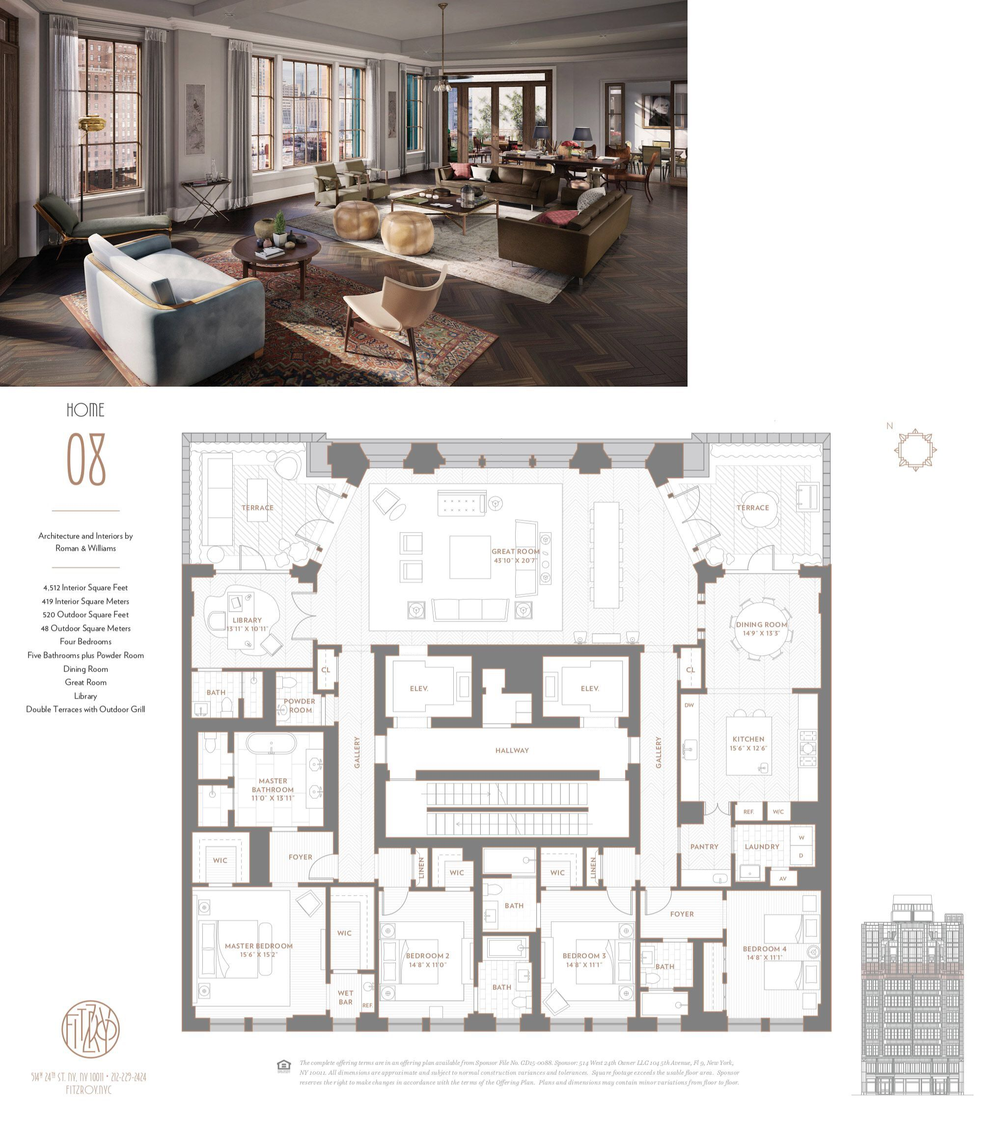 The Fitzroy 514 W 24th St Residence 08 Home Building Design Penthouse Apartment Floor Plan House Plans