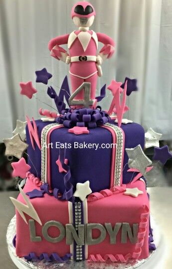 Pink Purple And White Fondant Square Girls Custom Creative Birthday Cake Design With Bling Ribbon Edible Stars Power Ranger Topper
