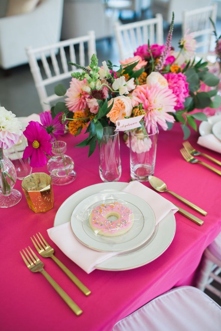 Meet the best ever birthday themecause everybody loves donuts pink and gold tablescape floral centerpieces bright table decor summer color scheme pink orange and green izmirmasajfo Gallery