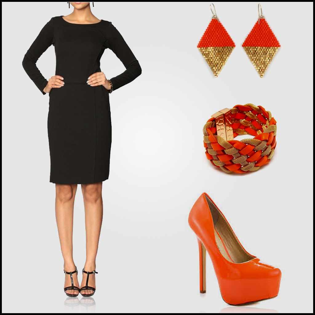 The Perfect Little Black Dress For Your Wardrobe Look Glamorous By Pairing It With Some Oran Perfect Little Black Dress Little Black Dress Orange Accessories [ 1024 x 1024 Pixel ]